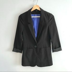H&M Black Women's Blazer with Royal Blue Lining